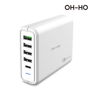 [오호] 5U05T 퀵차지3.0 초고속 75W USB 5포트 C타입 PD 멀티충전기
