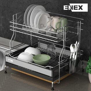 에넥스 유로 식기건조대 2단 설거지건조대 블랙컬러