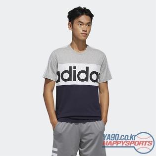 [아디다스] 이센셜 컬러블럭 아디다스 워드마크 티셔츠 0292 (그레이/밝은검정)